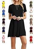 TINYHI Women's Swing Loose Short Sleeve Tshirt Fit Comfy Casual Flowy Tunic Cotton Dress...