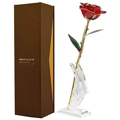 Red Gold Rose, DEFAITH 24K Gold Trimmed Long Stem Real Rose with Moon-shape Rose Stand. Last a Lifetime. Best Anniversary Gift.