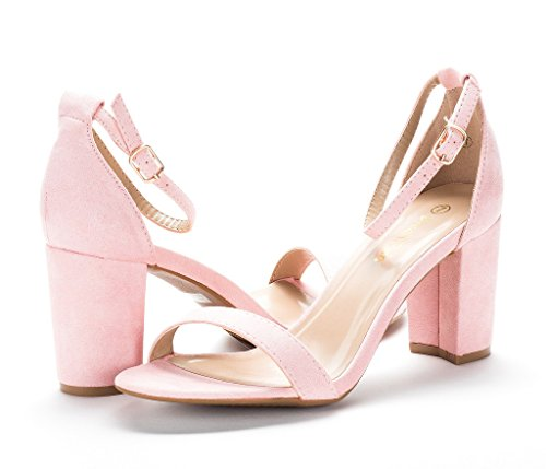 DREAM PAIRS Womens Chunk Low Heel Pump Sandals Light Pink 4EUMSxPDi