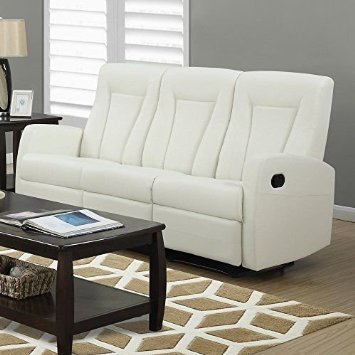 Contemporary Ivory Leather Sofa - Monarch Specialties I 82IV-3 Reclining Sofa in Ivory Bonded Leather
