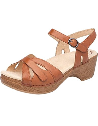 Dansko Shoes Womens Sandals Season Leather Buckle 43 Camel 9849982200 by Dansko