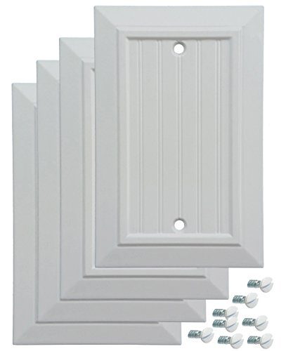Pack of 4 Wall Plate Outlet Switch Covers by SleekLighting | Classic Beadborad Wall plates| Variety of Styles: Decorator/Duplex/Toggle/Blank / & Combo | Size: 1 Gang Blank