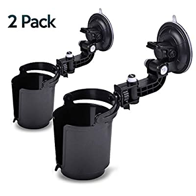 Zone Tech Recessed Folding Cup Drink Holder - 2-Pack Black Premium Quality Recessed Sturdy Black Folding Vehicle Adjustable Drink Cup Holder: Automotive