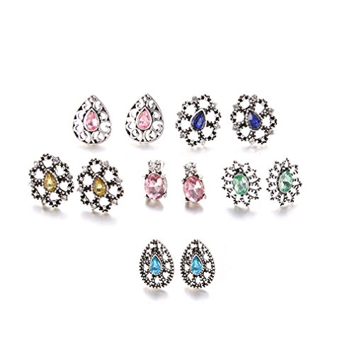 - yunzee 6 Pairs Retro Hollow Ear Stud Piercing Barbell Fancy Flower Studs Earrings