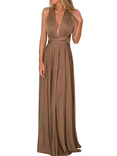 Convertible-Wrap-Maxi-Long-Dress-Wedding-Party-Women-Brown-M