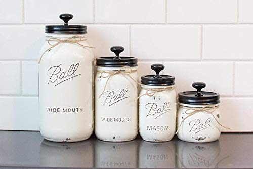 4 Piece Mason Jar Canister Set (Old White, Black Lid)