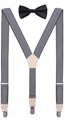 CEAJOO Teens Bow Tie and Suspenders Set Adjustable Y Back 40