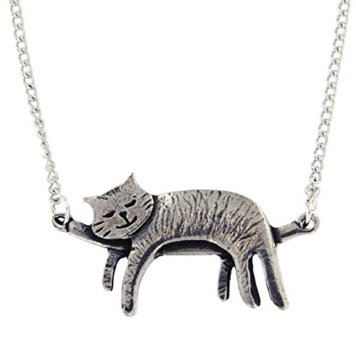 (St Justin, Pewter Sleeping Cat Necklace - 18