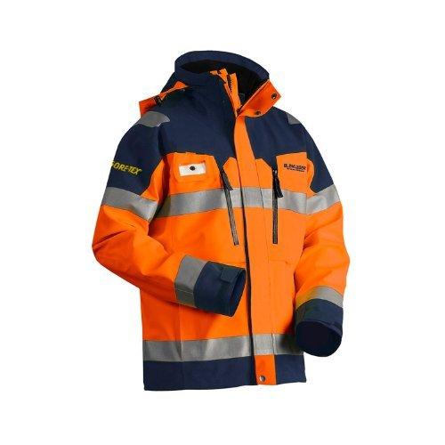 blaklader-480819795389m-size-medium-gore-tex-shell-jacket-orange-navy-blue-by-blaklader