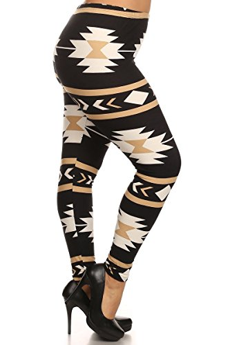 LA12ST Women's Black and Toupe Aztec Navajo Printed Leggings