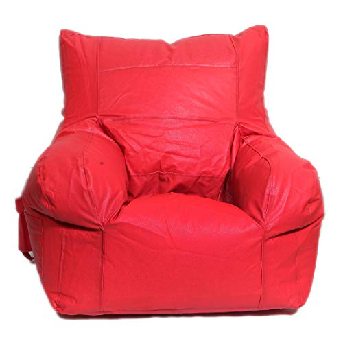 Maruti Fun Bags Leather Bean Bag Cover Arm Chair without Beans  Red, XXL