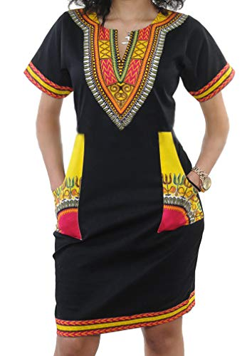 shekiss Women's Bohemian Bodycon Dashiki African Vintage Print V-Neck Club Midi Dress Black/Yellow ()