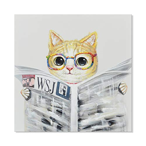 (SEVEN WALL ARTS - Modern Hand-Painted Oil Painting Animal Cute Pet Cat Artwork with Stretched Frame for Kids Room Home Decor (Cute Cat Reading Newspapers, 24 x 24 Inch))