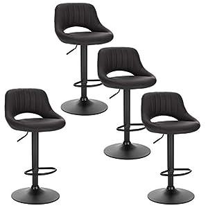 EUGAD 0666BY-4 Tabouret de Bar Chaise de Bar Lot de 4,Tabouret de Cuisine avec Similicuir Assise et métal Pieds…