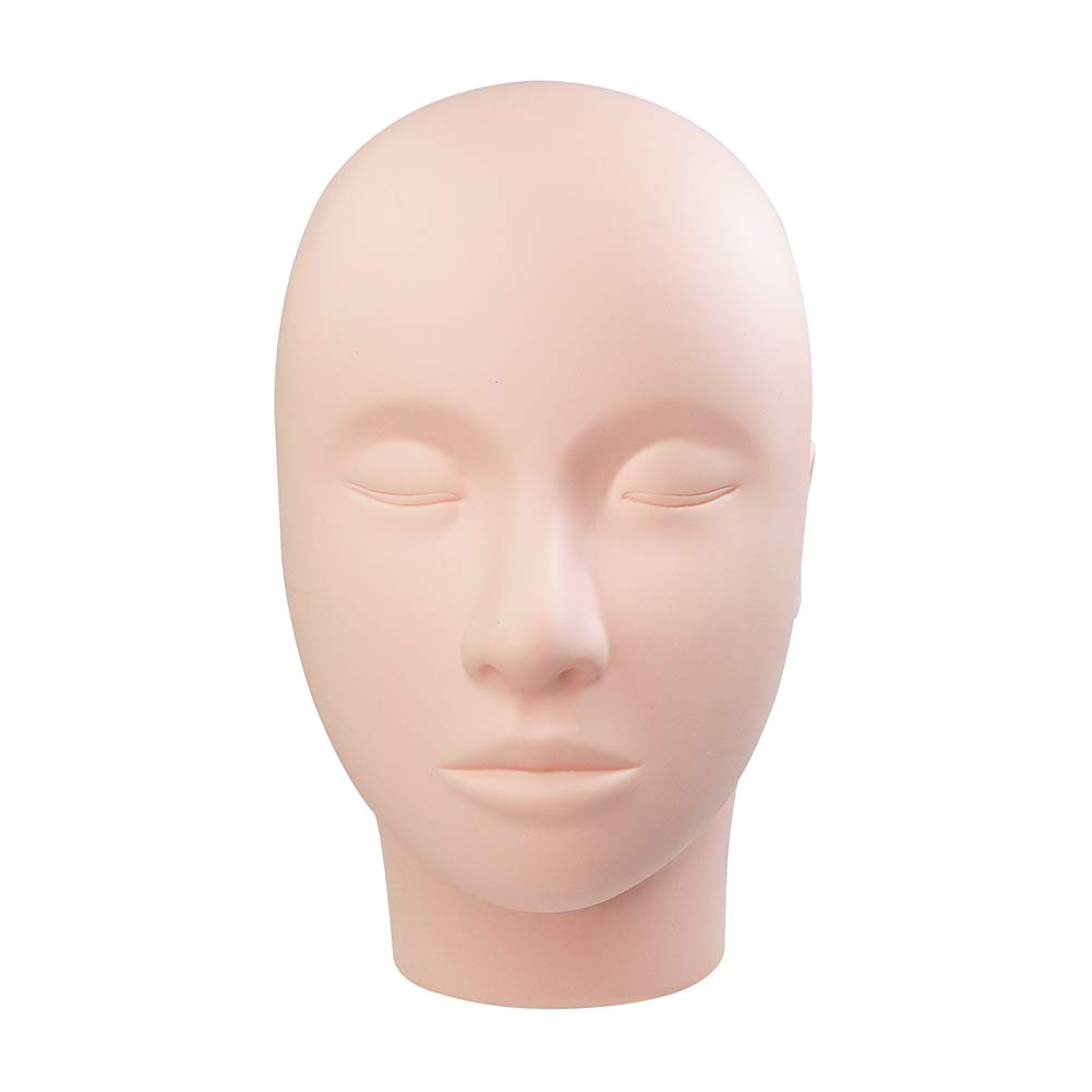 LASHVIEW Eyelash Mannequin head,Rubber Practice Makeup Head,Mannequin Head,Training Head Manikin,Cosmetology Flat Mannequin Head,Make Doll Head,Eyelashes Makeup Mannequin Head