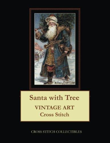 Santa with Tree: Vintage Art Cross Stitch Pattern Tree Cross Stitch Pattern
