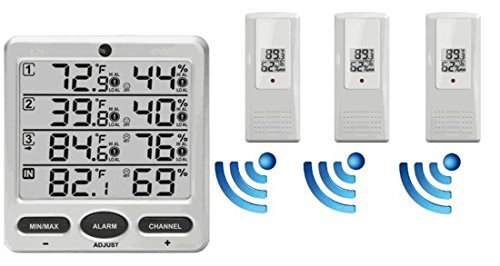 WS-10 Wireless LCD Indoor/Outdoor 8-Channel Thermo-Hygrometer with Three Remote Sensors