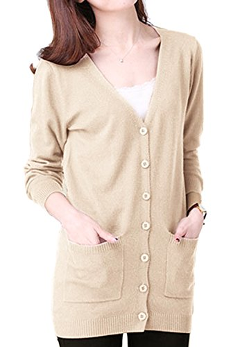 Beige Womens Cardigan (AsherFashion Asher Fashion Women's Loose Knit Cardigan Open Front Button Sweater With Pockets Beige US XL=Asian Tag 3XL)