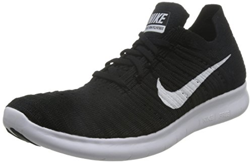 Nike Men's Free Rn Flyknit Running Shoe, Black/White, 11 D(M) US (Nike Flyknit Racer Black White For Sale)