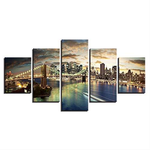 DGGDVP Arte Abstracto de Pared Modular de 5 Paneles, Pintura de la Ciudad de Nueva York, Vista Nocturna, Imagen para Sala de Estar, decoracion del hogar, lienzos, poster, tamano 1 con Marco