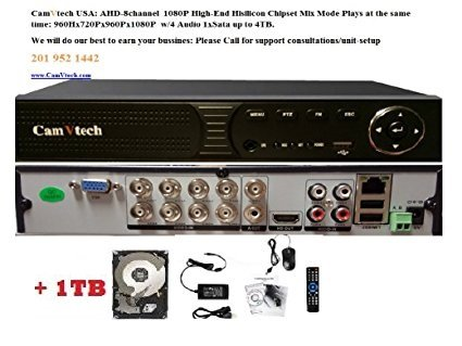 Camvtech Usa New High-End 1080P Mix mode Analog/AHD/TVI,CVI 960Hx720Px960Px1080P 1sata up to 6TB, Motion Detect, Plug&Play HDD 1TB INCLUDED