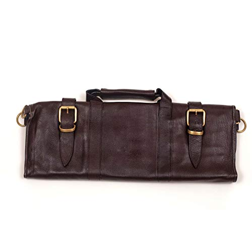 Boldric Brown Leather 17 Slot Knife Bag with Strap