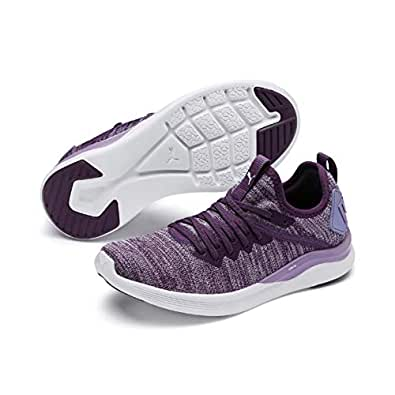 PUMA Kids' Ignite Flash Evoknit Jr Sneaker, Sweet Lavender-puma White-Indigo, 4 US