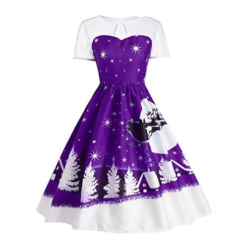 Bescita Frauen Vintage Weihnachten Oansatz gedruckt Kurzarm A-Linie Swing Kleid für Partykleid Cocktailkleid Lila j1ptTednFw