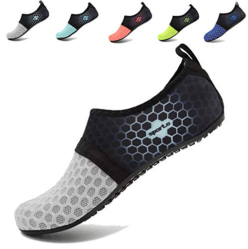 Womens Yoga Aqua L Swim Water Mens Beach Socks Barefoot AoSiFu for Pool gray Shoes Surf Exercise and w60nUqWx1T