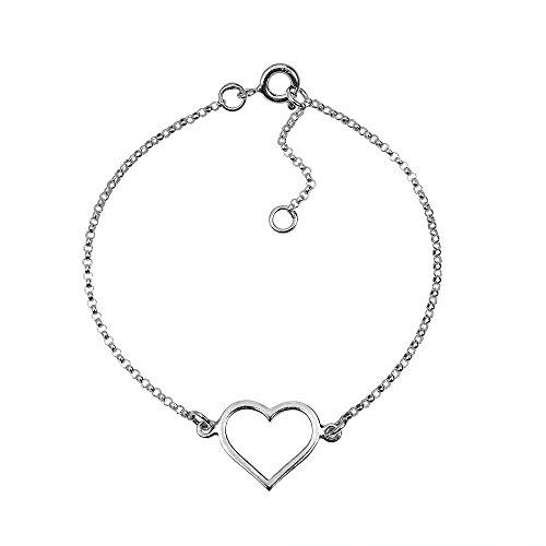 AeraVida Special Romance Open Heart .925 Sterling Silver Link Bracelet