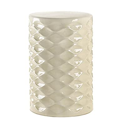 Faceted Ivory Ceramic Side Table or Stool