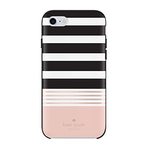 kate spade new york KSIPH-055-STBWR  Protective Hardshell Case for iPhone 8, iPhone 7 & iPhone 6/6s - Stripe 2 Black/White/Rose Gold Foil (Kate Spade Black And White)