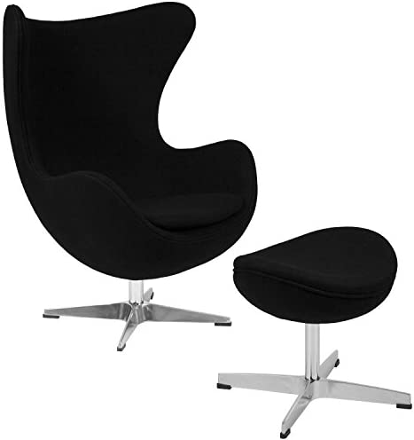 Flash Furniture Black Wool Fabric Egg Chair with Tilt-Lock Mechanism and Ottoman