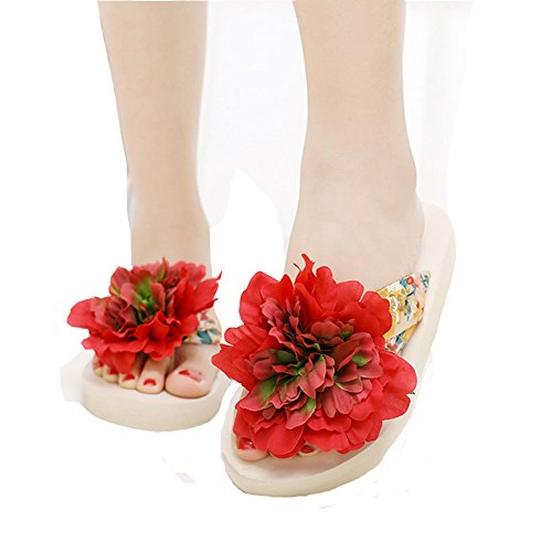 Fashion Flower Girls Thick Beach Flop Womens JULY Flip Red Ladies Thong Summer Bottom T Slippers Bohemia XzTtwq1wx