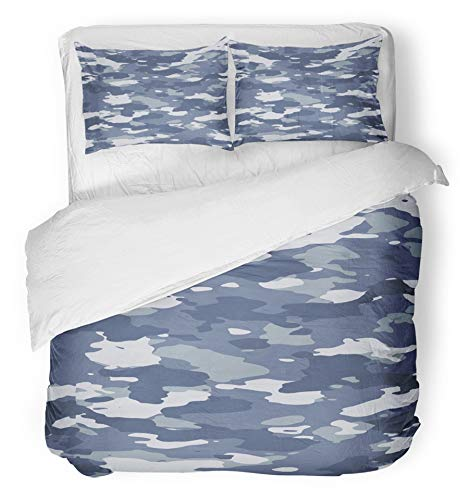 Emvency 3 Piece Duvet Cover Set Brushed Microfiber Fabric Breathable Navy Camouflage Urban Blue Wide Camo Pattern Camoflauge Camoflage Army Abstract Bedding Set with 2 Pillow Covers Full/Queen Size