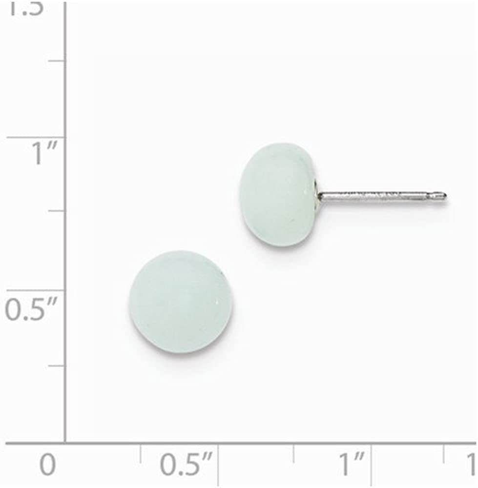 925 Sterling Silver 8-8.5mm Button ite Post Earrings