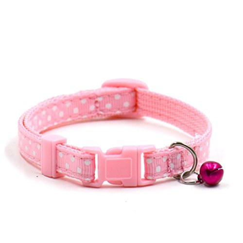 Pet Collars,Haoricu Collars Pet Supplies Polka Dot Cat Collars Pendant Necklace for Dog Adjustable Dog Collar Colliers (Pink)