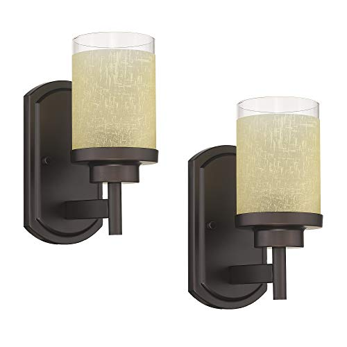 Jazava Industrial Bath Vanity Light Fixture, Modern Wall Sconces for Bathroom, Pack of 2, Yellow Linen Frosted Glass Shades in Oil Rubbed Bronze Finish