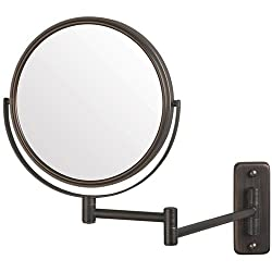 Jerdon 8-Inch Two-Sided Swivel Wall Mount Mirror with 5x Magnification, 13.5-Inch Extension