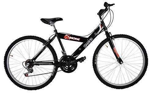 Bicicleta Económica de Montaña Modelo 'Starbike', con Cuadro y Tijera de Acero, sin Suspensión, Rodada 26 18 Velocidades (Negro)