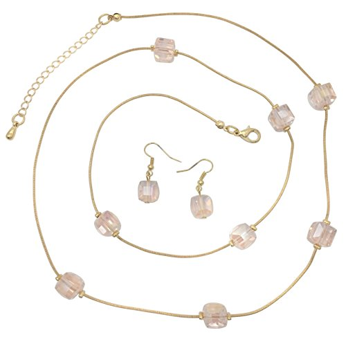 Glass Beveled Cubes on Gold Tone Snake Chain Boutique Style Necklace & Earrings Set (Light Pink) (Small Snake Bracelet)