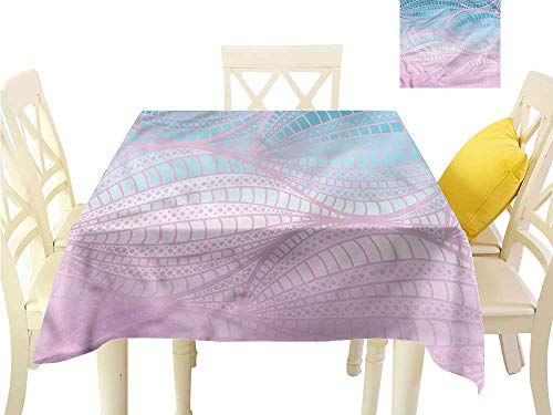 WilliamsDecor Jacquard Tablecloth Abstract,Curvy Stripes with Dots Printed Tablecloth W 36