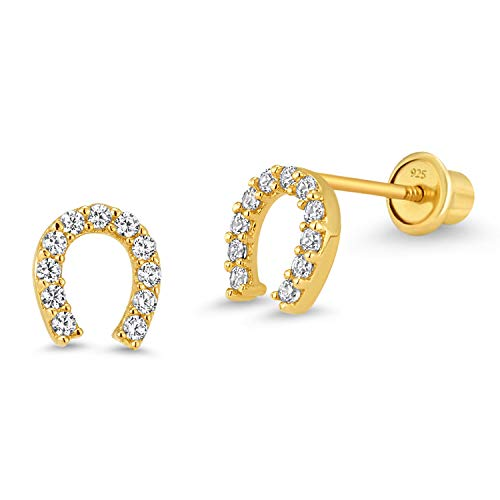 (14k Gold Plated Brass Horseshoe Cubic Zirconia Screwback Girls Earrings with Sterling Silver Post )