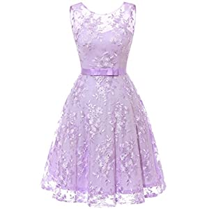 f92ae1fa949d48 MUADRESS 6002 Women Wedding Party Dress Sleeveless Lace Embroidery Lavender  S