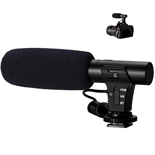 YTBLF Professional Camera Microphone, SLR Camera/DV Camera, USB Rechargeable high Sensitivity Interview Microphone, Compatible with 3.5mm Interface (Fall Schließe)