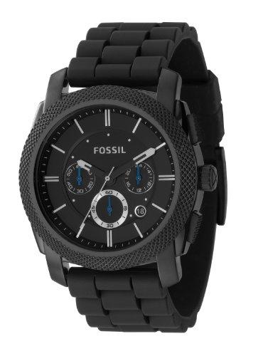 Fossil FS4487 – Reloj analógico de cuarzo para hombre con correa de caucho, color negro