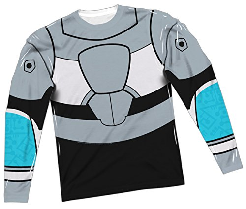 Cyborg Costume -- Teen Titans All-Over Long-Sleeve T-Shirt, Small
