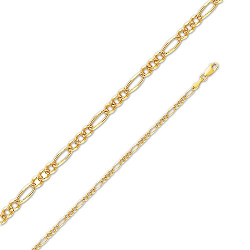 Sonia Jewels 14k Yellow Gold Solid 3mm Figaro 3+1 Yellow Pave Diamond-Cut Chain Necklace 20