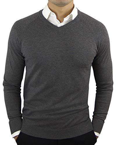 V-neck Grey Sweater Cashmere - Comfortably Collared Men's Perfect Slim Fit Lightweight Soft Fitted V-Neck Pullover Sweater, Medium, Charcoal Grey