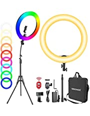 """Neewer 18"""" RGB Ring Light with Stand, 42W Dimmable LED Ring Light with Phone Holder/Bi-Color 3200K–5600K/97 +CRI/0–360° Full Color/9 Scene Effects for Selfie Makeup Zoom Calls YouTube Video Shooting"""